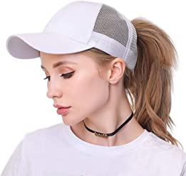 9b939b072c2d1 OUO Ponytail Hat Womens Ponycaps Messy High Bun Cute Cool Style Mesh  Baseball Hat Ponytail Caps