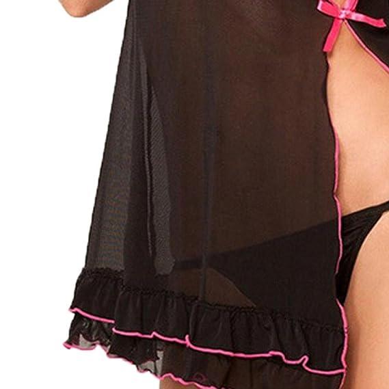 Mujer Encaje Arco Ropa Interior tentación Vestido de Noche + Tangas