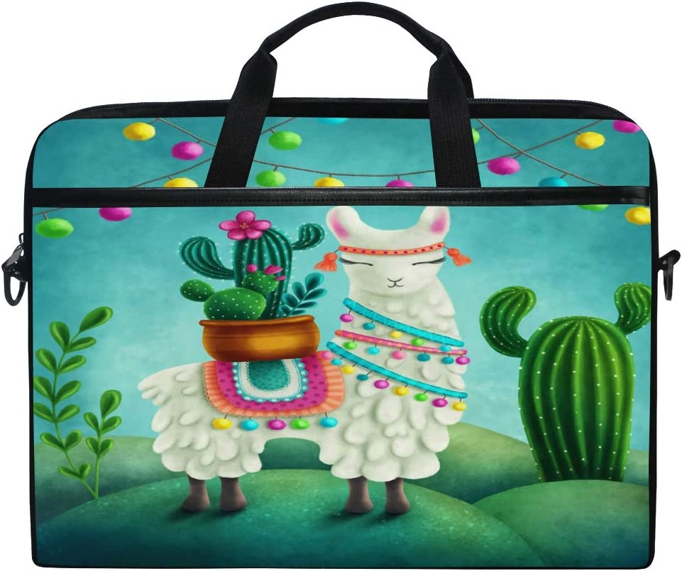 JOKERR Laptop Case Bag Tropical Llama Cactus 14 inch to 14.5 inch Briefcase Messenger Computer Sleeve Tablet Bag with Shoulder Strap Handle for boys girls