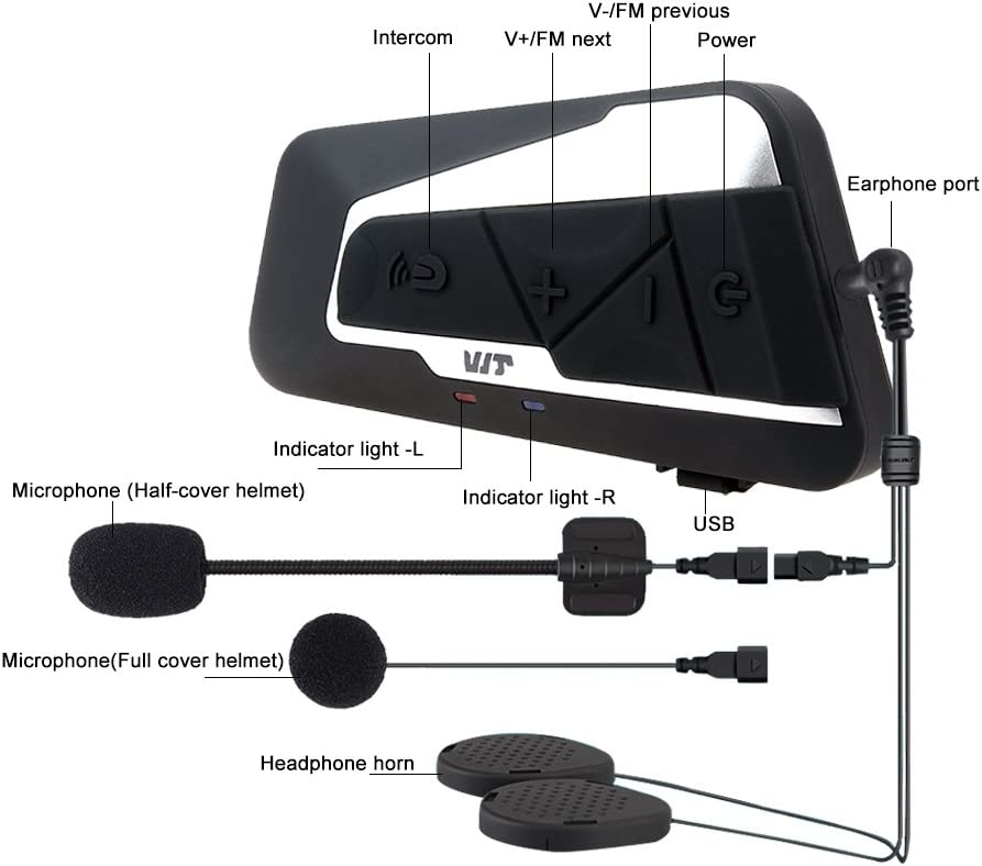 Casques Kit Moto Main Libre Syst/èmes de Communication Anti Bruit pour Scooter//Motocyclette 1000M// MP3// GPS//Radio FM// 2~3 Riders//Full Duplex Fodsports Intercom Moto Bluetooth
