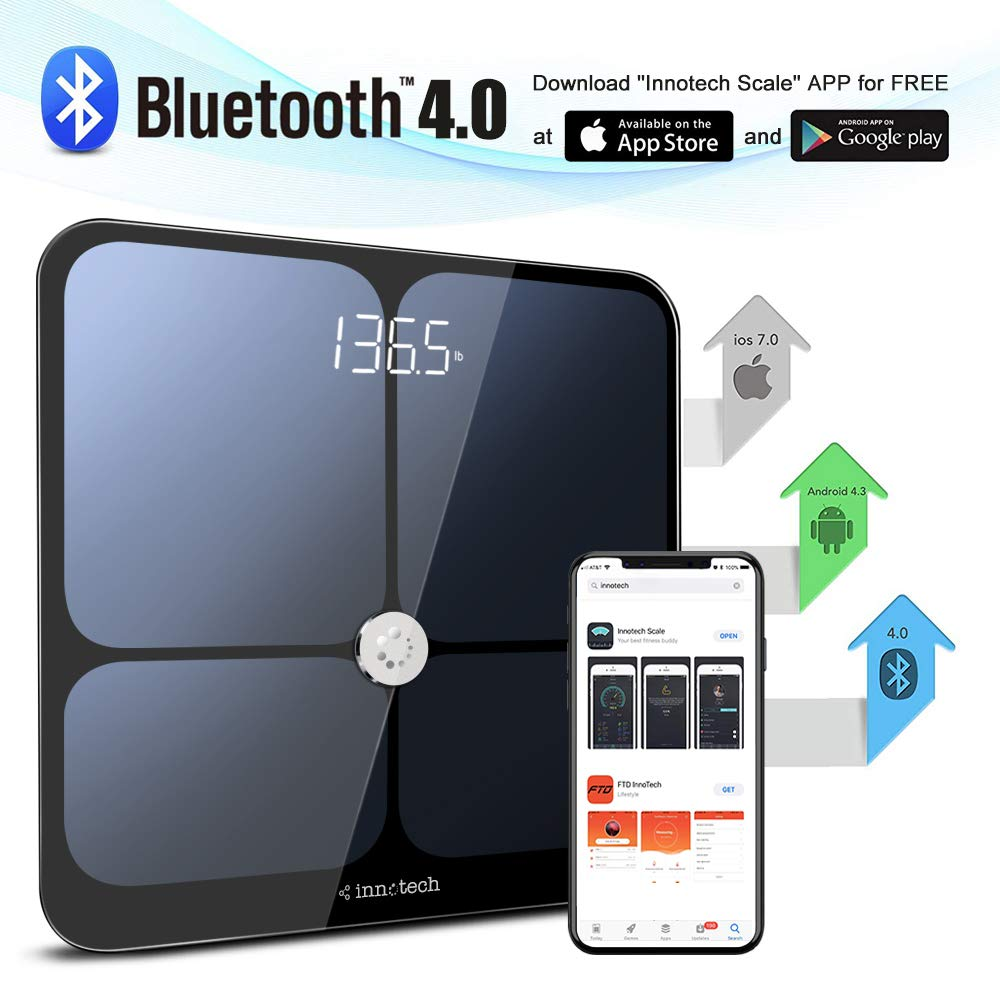 Innotech Smart Bluetooth Body Fat Scale Digital Bathroom Weight Weighing  Scales Body Composition BMI Analyzer & Health Monitor with Free APP,