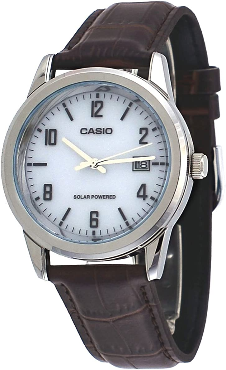Casio MTP-VS01L-7B2 Men s Standard Solar Leather Band Grey Dial Date Watch
