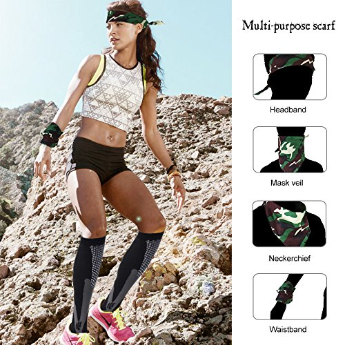 Sedremm Compression Socks 20-30mmHg Men&Women 2 Pairs with Sport Scarf,Best for Travel,Running,Nurse (Black and White)