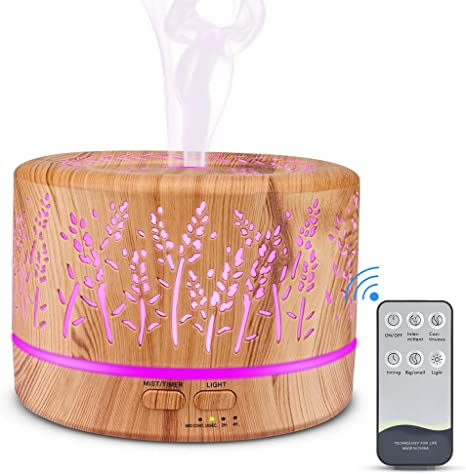 Manli Aroma Diffuser Humidifier Hollow Branch Diffuser Aromatherapy Wood Grain 700ml Room Humidifier with 7 Light Colours Remote Control for Office,