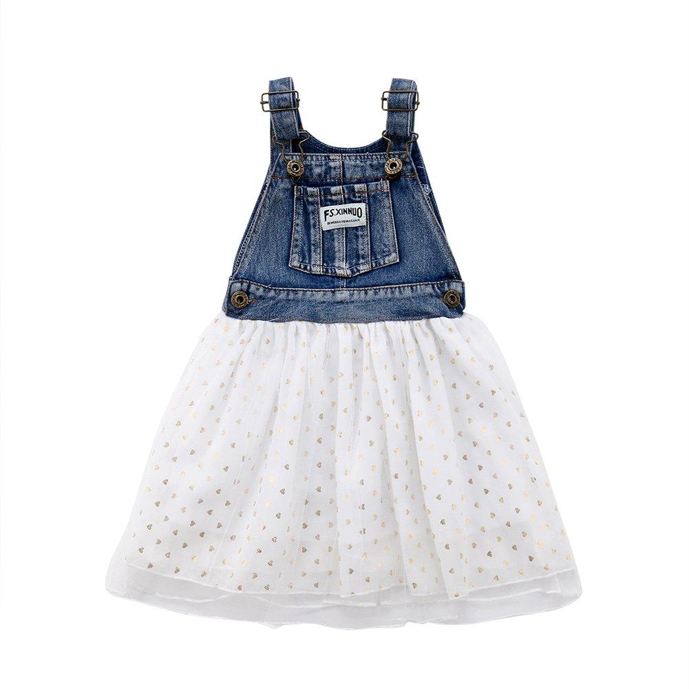 489498b77c Toddler Baby Girls kids Denim Overall Tutu Skirt