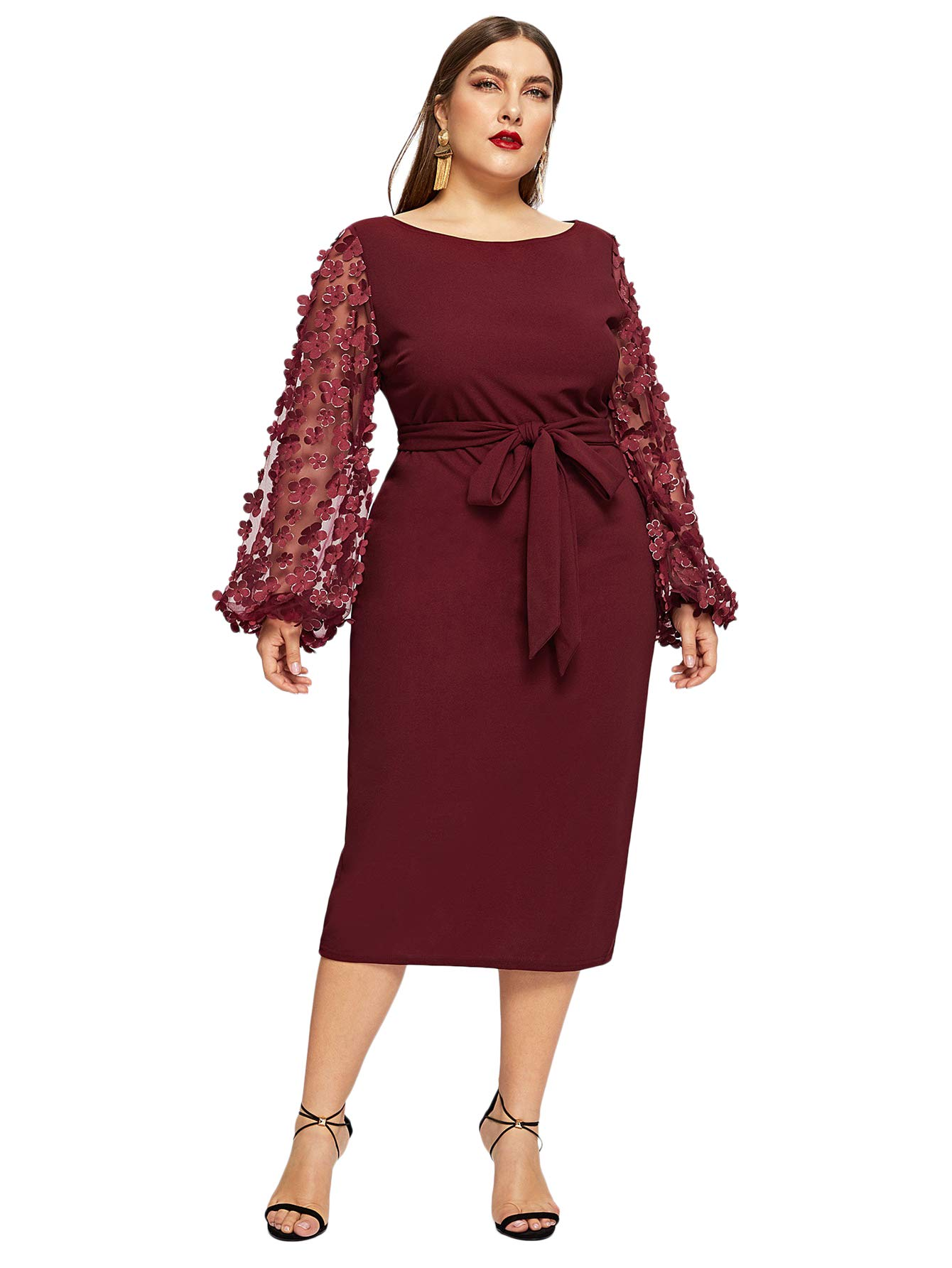 1713258cc0d0a SheIn Women's Plus Size Elegant Mesh Contrast Pearl Beading Sleeve Stretchy  Bodycon Pencil Dress Burgundy