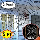 Woqoo 5 Ft Halloween Giant Spider Web - 2 Pack Super Stretch Spider Webs Indoor Outdoor Realistic Scary Spooky Cobweb Halloween Decoration Party Supplie for House Garden Window Yard Decor, White Black
