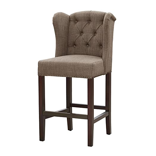 Madison Park Jodi Bar Stools-Hardwood, Birch, Faux Linen Kitchen Chair Modern Classic Style Button Tufted Counter Seating Pub Furniture For Home, See below, Taupe