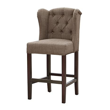 Fine Madison Park Jodi Bar Stools Hardwood Birch Faux Linen Kitchen Chair Modern Classic Style Button Tufted Counter Seating Pub Furniture For Home See Dailytribune Chair Design For Home Dailytribuneorg