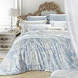Newrara Tencel Super Silky Soft Luxury Bed Sheet Set Girls Duvet Cover Set Queen Bedding Set ,White with Blue Flower 4pcs