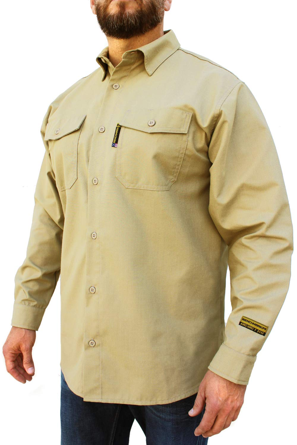 Benchmark FR Silver Bullet, 5.1 oz Ultra Lightweight FR Shirt, NPFA 2112 & CAT 2, Moisture Wicking, Men's FRC with 9 Cal rating, Made in USA, Advanced FR Materials, Beige, Large by Benchmark FR (Image #4)