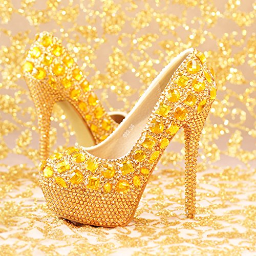 Evening Waterproof Prom 5 Dress Wedding Sandals Shoes Super High Party Women Round Shoes Heel Golden B For Heels Luxury Diamond VIVIOO 5 14Cm Bride PTqdwFT