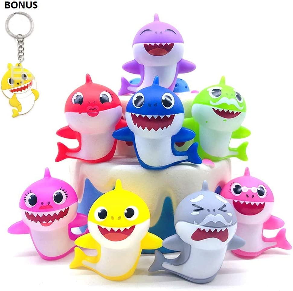 Shark Baby Cake Toppers – Fun Cake Decorations – 1.5 x 2-inch Baby Shower Party Décor – 8 pc Cupcake Toppers for Kids + Matching Keychain – Shark Decoration Toppers for 1st Birthday