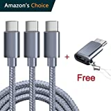 USB Type C Cable, OULUOQI USB C Cable 3 Pack(6ft) Nylon Braided Fast Charger Cord(USB 2.0) for Samsung Galaxy S9 Note 8 S8 Plus,LG V30 G6 G5 V20,Google Pixel, Moto Z2, Nintendo Switch, Macbook(Grey)