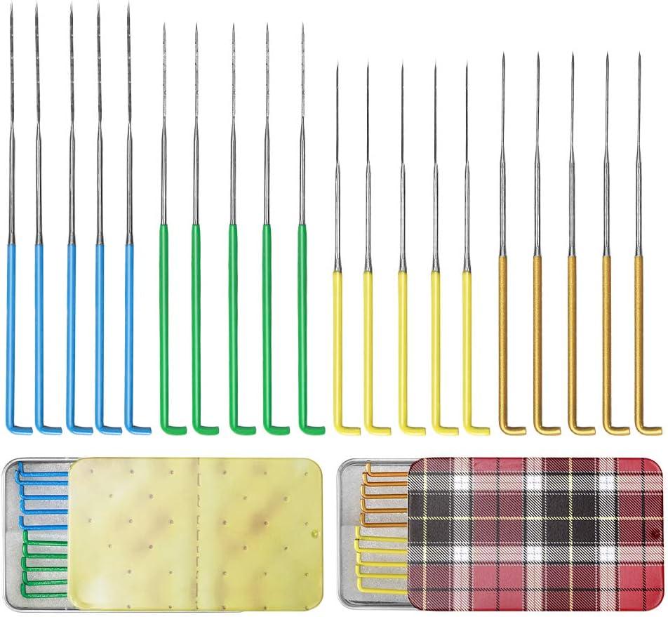 Puntadas de Estrella Agujas de Fieltro y Agujas Triangulares Calibre 40 Calibre 36 Ekalee Calibre 38 Juego de 20 Agujas de Fieltro de Colores con 2 Tipos de Agujas Calibre 40