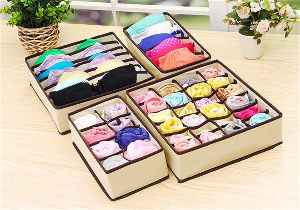 VADOLY Non-Woven Fabric Foldable Divider Home Storage Box Cell Case Necktie Socks Underwear Bra Organizer Container