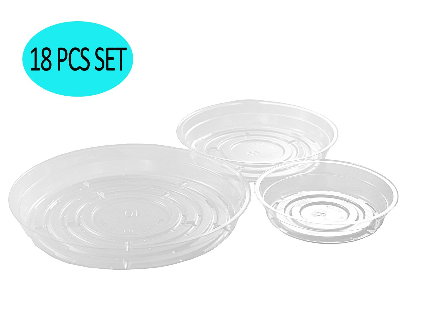 YIKUSH Clear Plant Saucers 18 Pack (6 inch/8 inch/10 inch Flower Pot Tray Excellent for Indoor & Outdoor Plants by YIKUSH