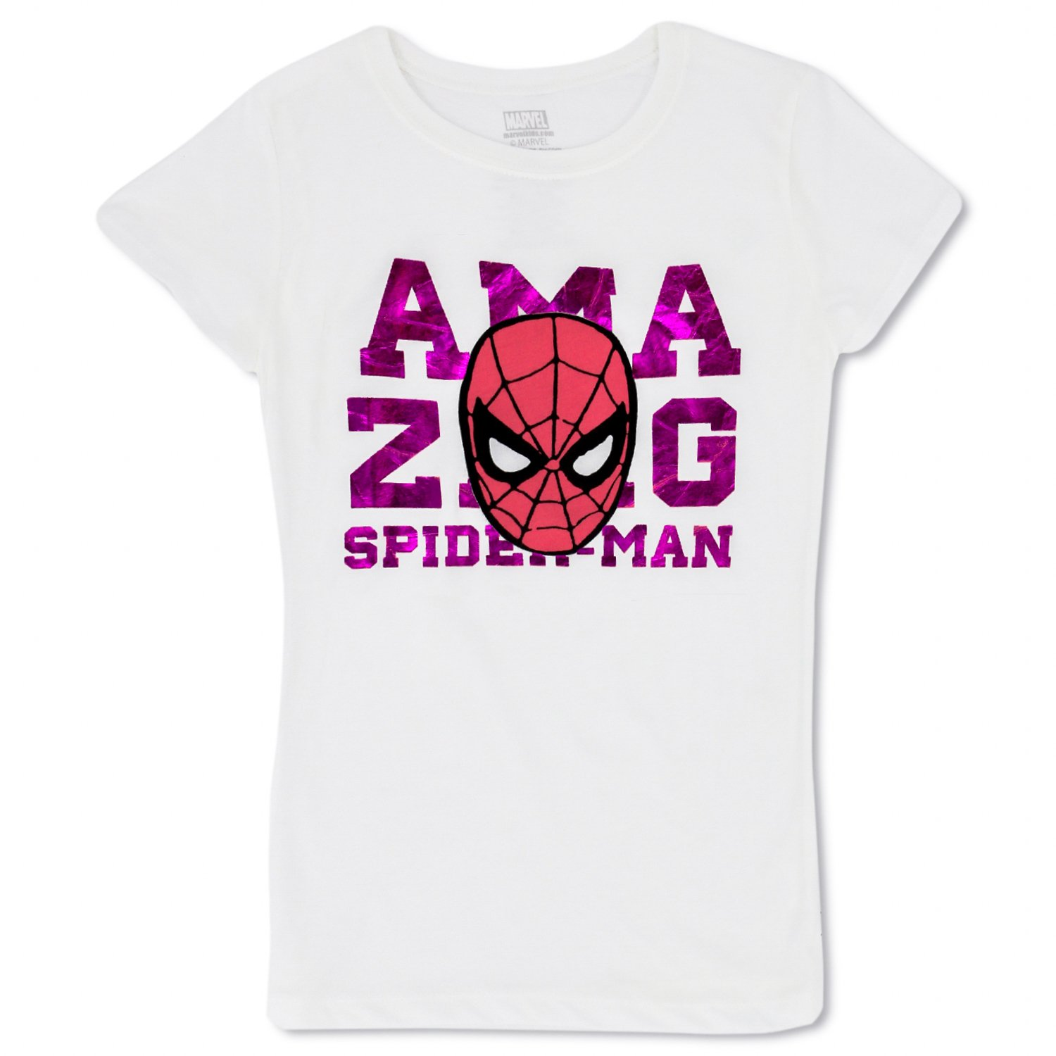 Girls Marvel Comics Graphic Tees - Spiderman, The Avengers, Guardians of The Galaxy (White Foil, Medium)