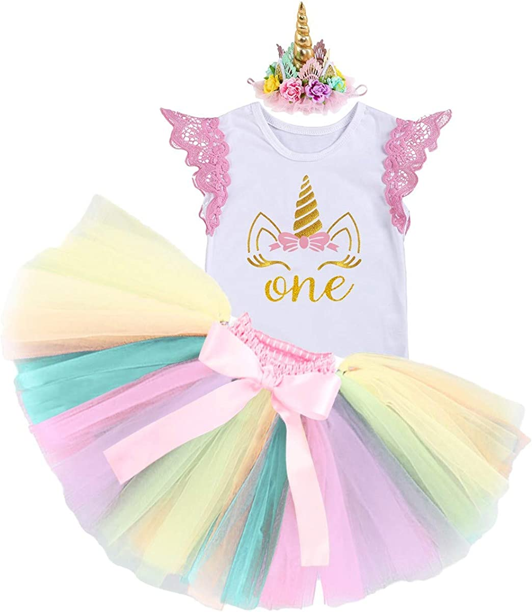 Shoes HIHCBF Baby Girls Princess First Birthday Cake Smash Unicorn Outfits Romper Rainbow Tutu Skirt Unicorn Headband