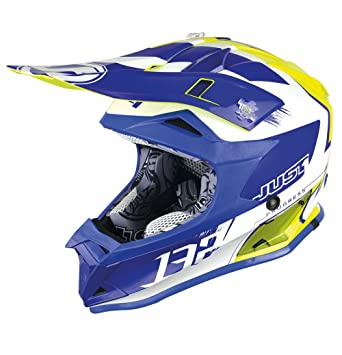 JUST1 casco J32 Pro niños Kick, color blanco/azul/amarillo, talla YM