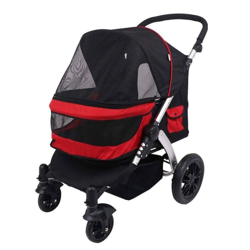 Red IW.HLMF Pet Stroller Portable Dog Travel Bag High-end Four-wheeled two-way Cat Travel Cart,Red