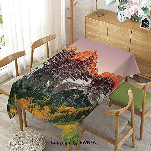 Homenon Decorative Rectangular Table Cloth,Scenic Western American Mountains