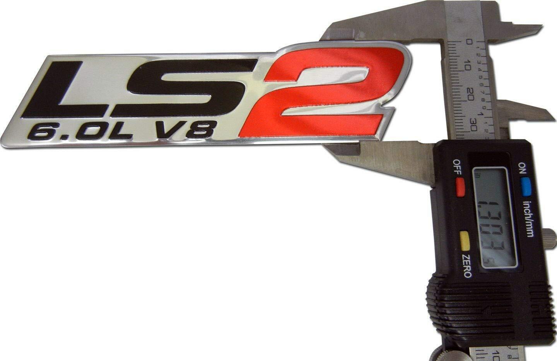 Pair Set LS2 Emblem 6.0L V8 Engine 3D Badge Nameplate Letter Replacement For Gm CHEVY CHEVROLET Red Black