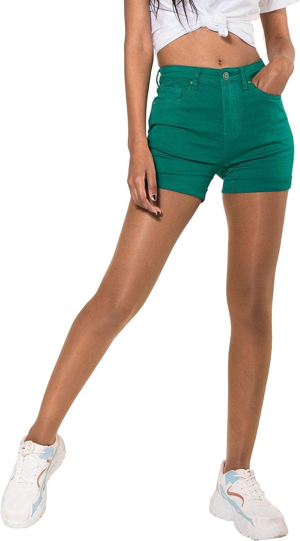 EGOMAXX Hochwertige Damen Jeans Shorts Hot Pants H/üfthose Kurze Sommer Hose Chino Bermuda