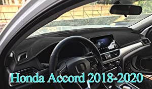 AKMOTOR Dash Cover Mat Fit for Honda Accord 2018 2019 2020 Without Head Up Display,Dashboard Cover Pad Carpet(Black) J47