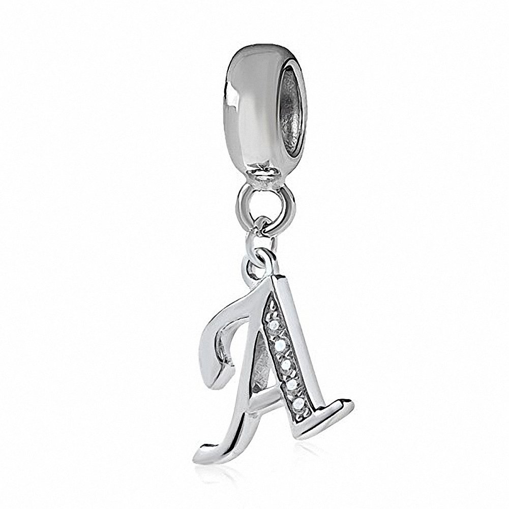 925 Sterling Silver Charms Alphabet Beads A-Z Letter Initial Spacer Dangle Clear CZ Stone Authentic for Snake Chain Bracelets B01CZADXY2_US