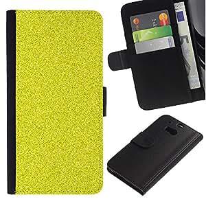 KLONGSHOP / Tirón de la caja Cartera de cuero con ranuras para tarjetas - Pattern Grain Bling Rich Yellow - HTC One M8