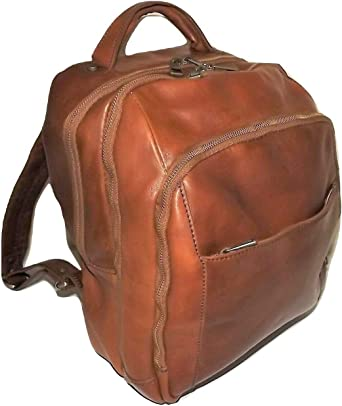 Baglioni Italia Florentine Leather 3 Compartment Laptop//Tablet Backpack Cognac