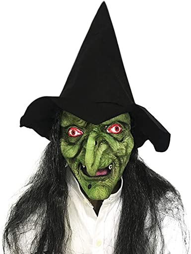 Old Woman Witch Mask with Hair /& Hat Set for Halloween Scary Party Cosplay Costume Decoration
