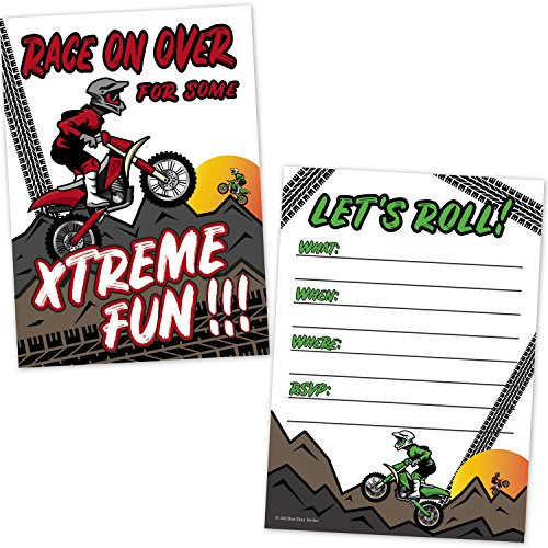 Motocross Dirt Bike Racing Party Birthday Party Invitations for Kids (20 Count with Envelopes) - Motorbike Birthday Invites for Boys (Real Dirt Bikes For Racing)
