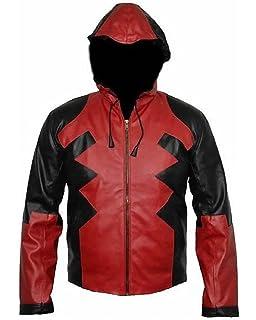 Bestzo Mens Fashion Cosplay Superman Real Leather Jacket Black//Grey