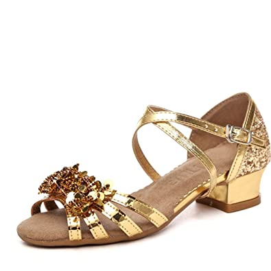 Wxmddn Latin Dance Schuhe Gold Weichen Boden Dance Schuhe Kinder