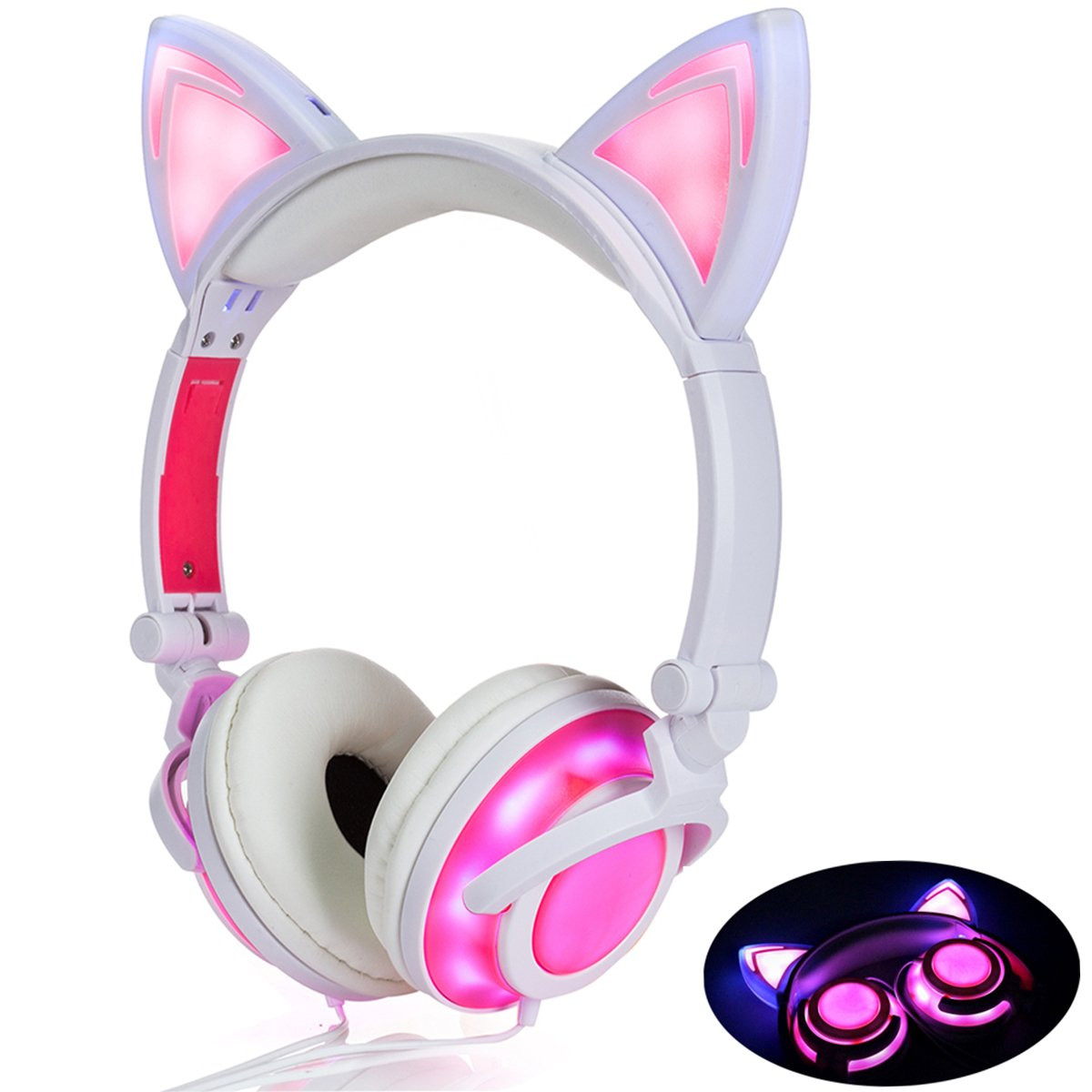 Headphone Cat Ear Headset,LED Light with USB Chargeable Foldable Earphones for Kids Teens Adults, Compatible for Ipad,Tablet,Computer,Mobile Phone LX-R107 (Black&Pink) LIMSON