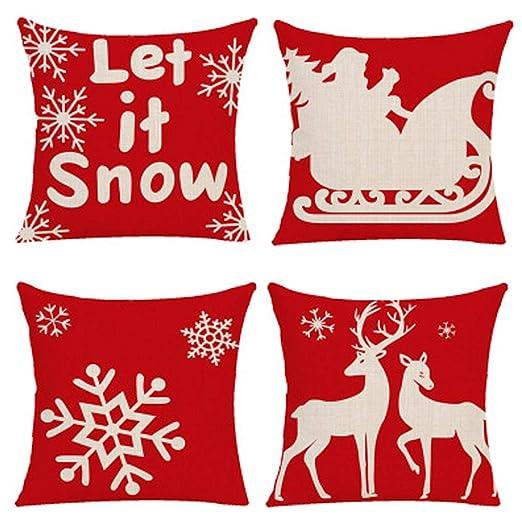 Yidaxing Funda De Almohada De Navidad, Feliz Navidad 4 Pack ...