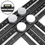 Multi Angle Measuring Ruler, Premium Aluminum Easy Angle Ruler, Adjustable Four-Sided Folding Measuring Tool Angleizer Measurement with 2pcs Horizontal Ruler