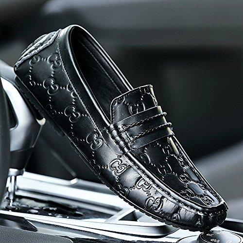 slip Driving stampata uomo Shufang 2018 in shoes leggeri Scarpe pelle Uomo on Mocassini da Penny Mocassini con Da Square Mocassini fodera HO4H8
