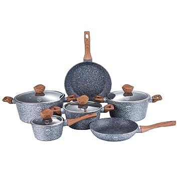 10 unidades, diseño de sartenes y ollas de piedra con tapa de cristal Berlinger BH-Haus 1212: Amazon.es: Hogar