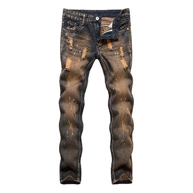 Loeay Nuevo diseñador para Hombre Jeans Ajustados Pantalones ...