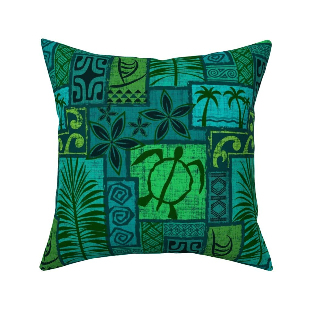Turquoise Tiki Green Blue Throw Pillow Cover w Optional Insert by Roostery