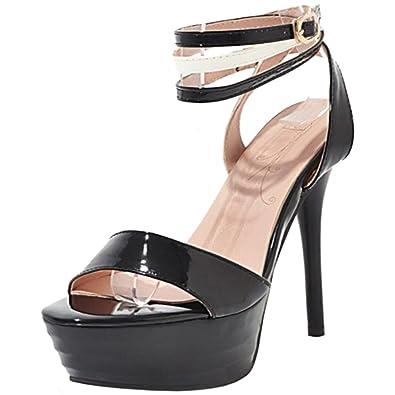 c3c3f2aa07a8b7 TAOFFEN Damen Hochzeitsschuhe Stiletto Sandalen Plateaus Schuhe Party Black  Size 33 Asian