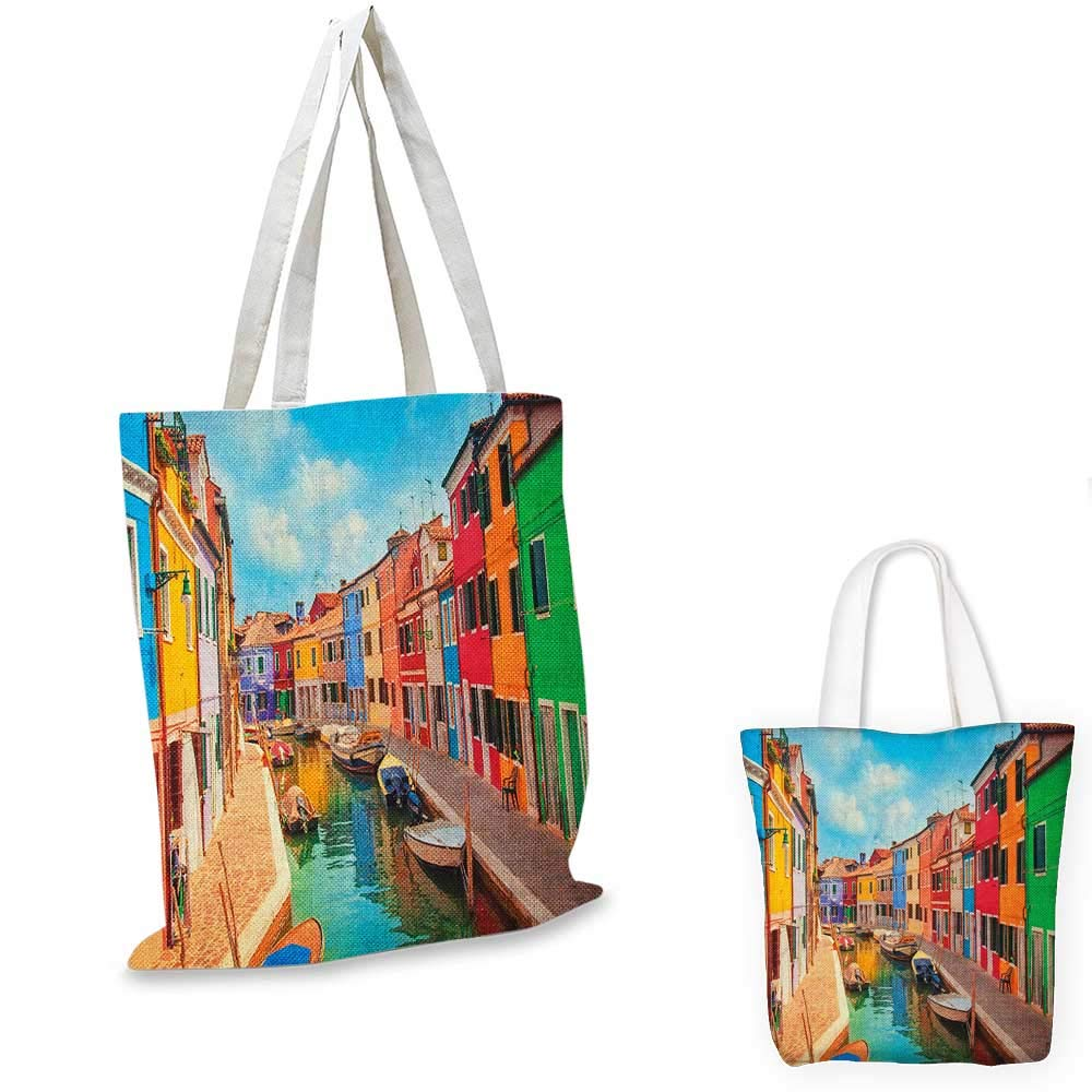 12x15-10 Venice canvas messenger bag Romantic Italian City at Sunrise Line of Gondolas Lagoon and Basilica Silhouette canvas beach bag Mustard Black