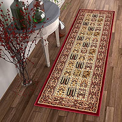 "Sultan Panel Multi Color Red Oriental Area Rug Persian Formal Traditional Area Rug 3' x 12' Runner Easy Clean Stain Fade Resistant Shed Free Classic Contemporary Thick Soft Plush Living Dining Room - Thick, plush 0.5"" pile height. 100% polypropylene power loomed in Turkey. Stain resistant and fade resistant. 100% jute backing is safe for wood floors. Extremely durable and very easy to clean, made to last for years. Traditional, formal, Persian floral oriental panel with border pattern. Updated with contemporary colors. Size: 2'7"" x 12' Runner - runner-rugs, entryway-furniture-decor, entryway-laundry-room - 61Lc4HLkFQL. SS400  -"