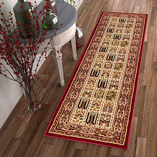 Sultan Panel Multi Color Red Oriental Area Rug Persian Formal Traditional Area Rug 3' x 12' Runner Easy Clean Stain Fade Resistant Shed Free Classic Contemporary Thick Soft Plush Living Dining Room ()