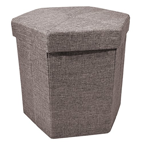 Upholstered Collapsible Hexagon Storage Ottoman with Padded Seat, Folding Bench and Foot Rest, Faux Linen, Brown, 15-inch For Sale