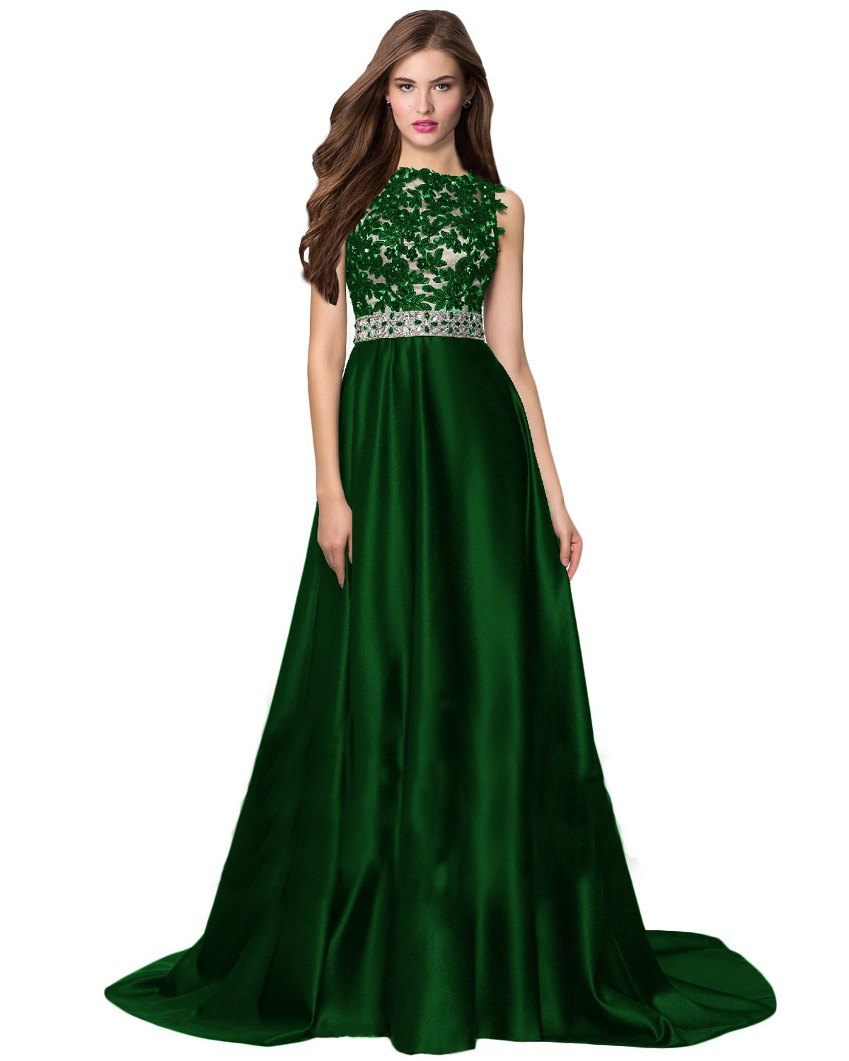 fb7b0a36519 Home Brands Wedding Party Lily Wedding Womens Beaded Satin Prom Dress 2019  Long Sleeveless Aline Evening Formal Gown Backless Size 12 Emerald Green.    