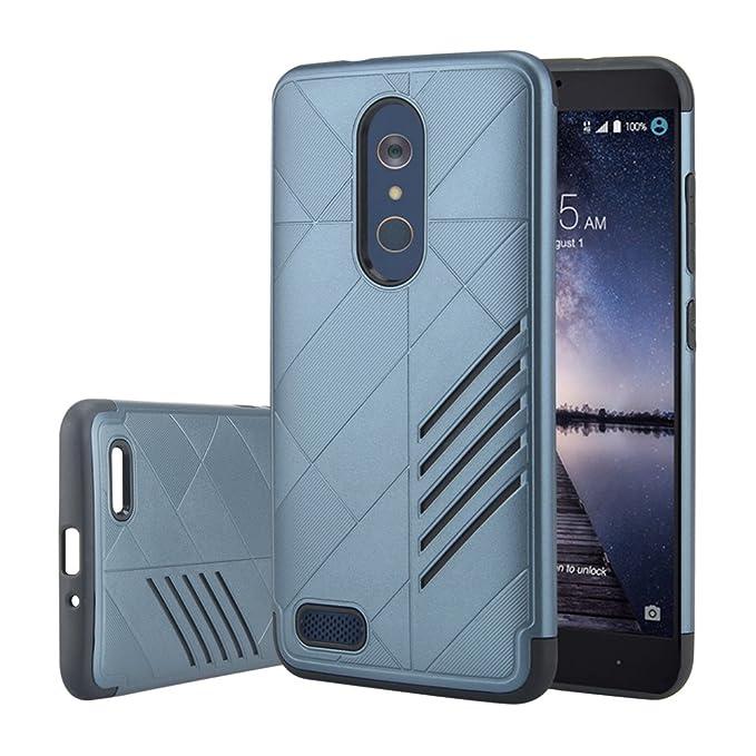 Kamii ZTE ZMax Pro caso, ZTE Funda Z981, Diagonal patrón Slim Fit 2 en 1 duro PC + silicona híbrida resistente Bumper Protective Back Cover Case for ZTE ZMax Pro/ZTE Carry Z981: